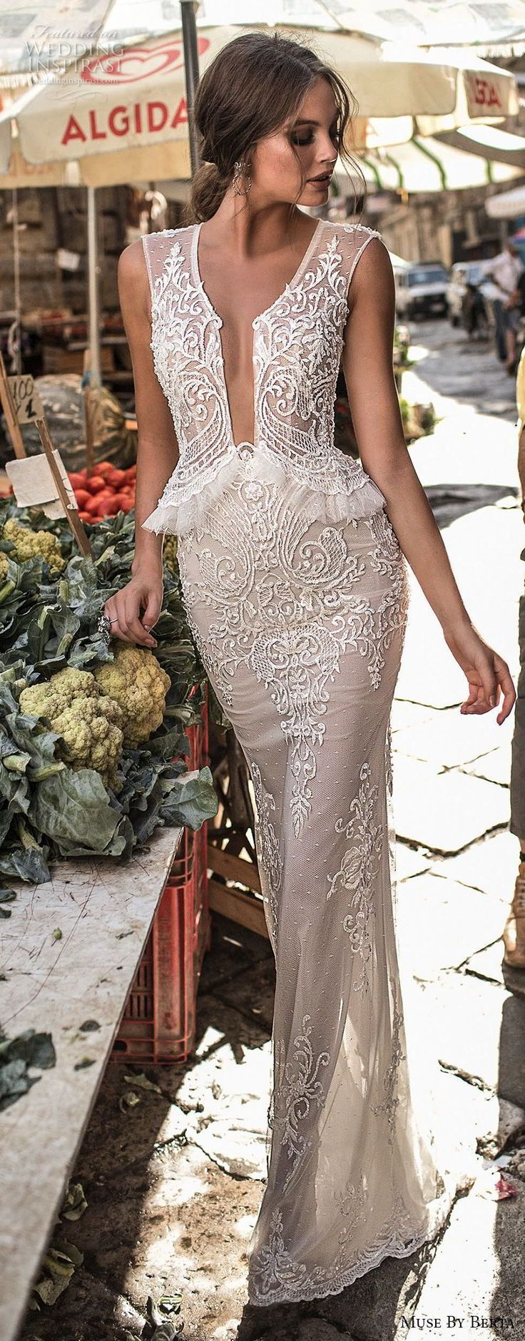 muse berta 2018 bridal sleeveless deep plunging v neck heavily embellished bodice elegant sexy peplum sheath wedding dress sheer keyhole back (6) lv -- Muse by Berta 2018 Wedding Dresses