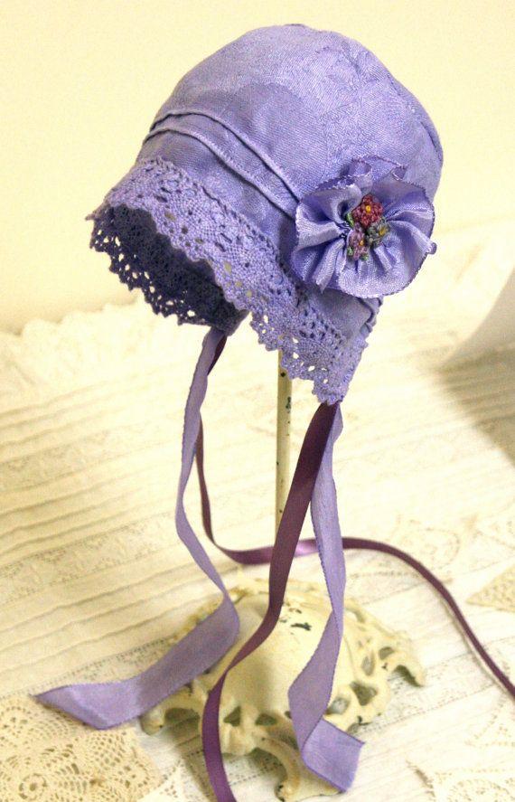 Lavender Baby Bonnet --Vintage Linen, antique bonnet, newborn, baby hat, baby girl, vintage baby, summer baby, shower gift, cotton, blue