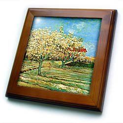 "1888 Van Gogh Painting Orchid In Blossom - 8x8 Framed Tile by 3dRose. $22.99. Inset high gloss 6"" x 6"" ceramic tile.. Dimensions: 8"" H x 8"" W x 1/2"" D. Keyhole in the back of frame allows for easy hanging.. Solid wood frame. Cherry Finish. 1888 Van Gogh Painting Orchid In Blossom Framed Tile is 8"" x 8"" with a 6"" x 6"" high gloss inset ceramic tile, surrounded by a solid wood frame with pre-drilled keyhole for easy wall mounting."