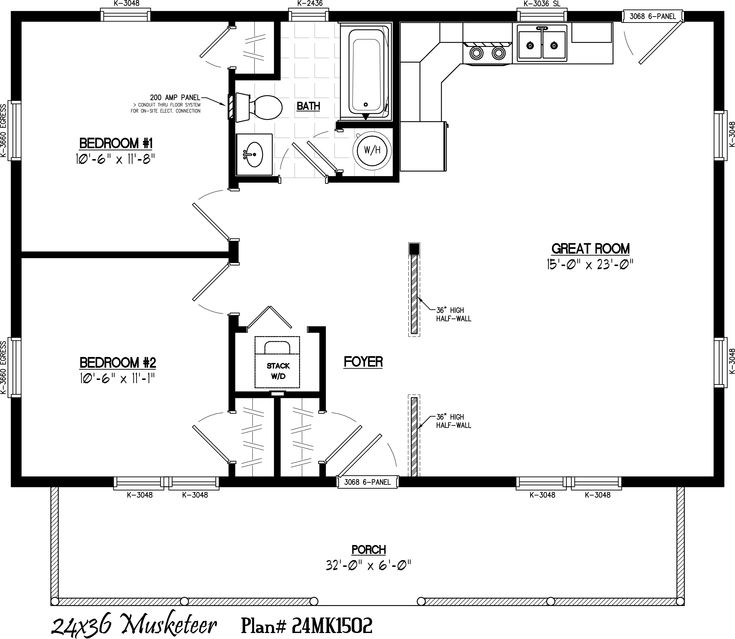 Guest house 30 39 x 22 39 floor layout musketeer floor plan for Garage guest house floor plans