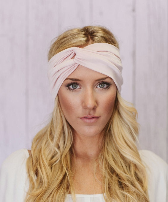 Exercise Hair Bands: Knotted Turband Headband Workout Hair Band In Pink