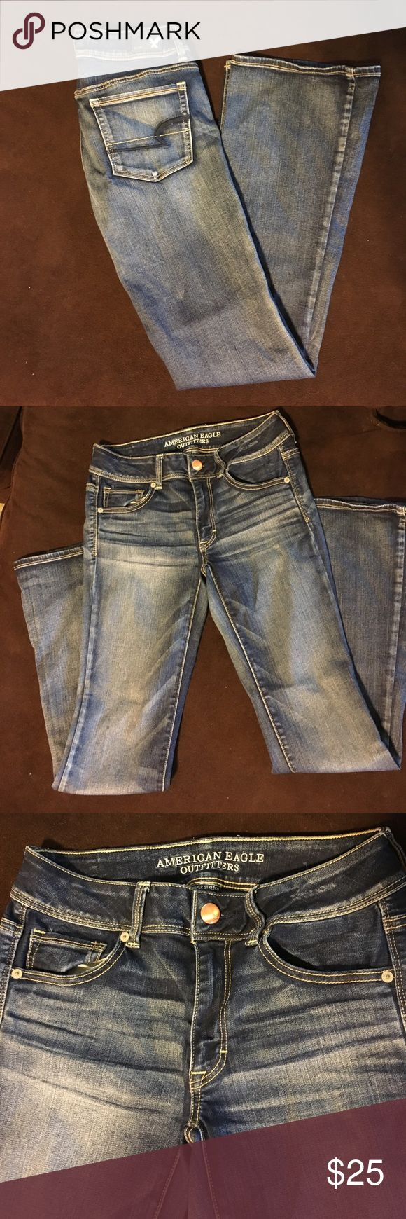 NWOT American Eagle Jeans, SZ 6 NWOT American Eagle Jeans! Size 6, regular. Kick Boot cut. Excellent Condition! Jeans have stretch in them. American Eagle Outfitters Jeans Boot Cut