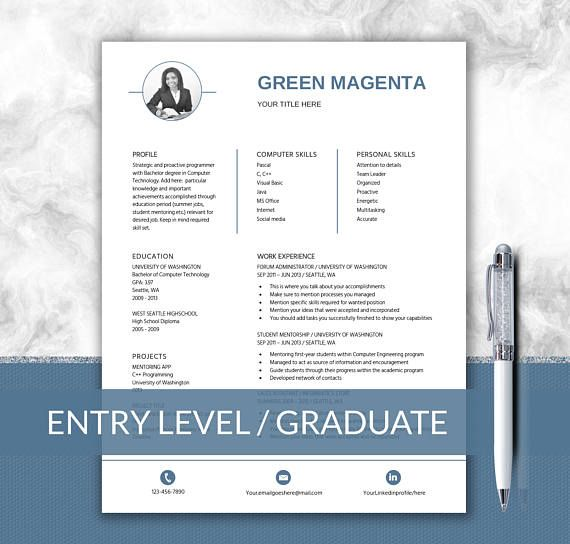 College Graduate Resume  First Job Template  Entry Level