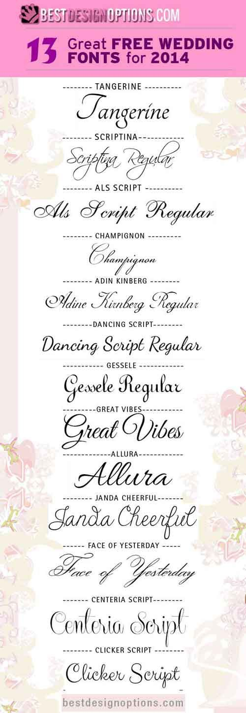 Here are 13 elegant script fonts that you can download and use for your romantic-themed designs such as wedding and engagement invitation cards.
