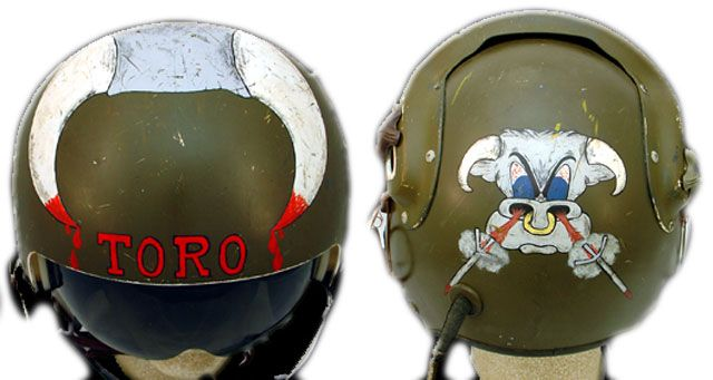 """Mike Brockovich says, """"All the original Toro pilots had the Toro hand painted on their helmets by warrant officer Lester A. Hansen, who ended up an MIA. My helmet was the only one modified with an Air Force visor and painted with horns."""" (Courtesy of Brockovich, via VHPAMuseum.org)"""