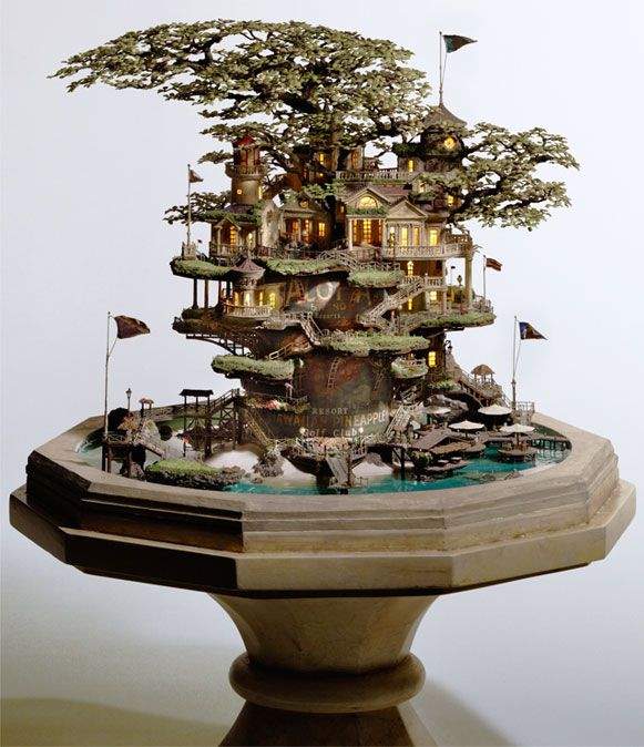 """I need this!  Takanori Aiba decades it works great, is the world of illustration or architecture, but it was sensational creating """"mini-worlds"""" which seems to have met. Houses in bonsai, lighthouses, castles and even a Michelin bonecão are in a spectacular range of parts."""