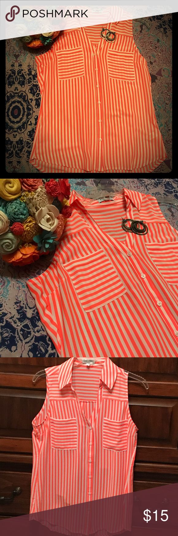 Bright orange and white collared tank top. Only worn once. Great colors for spring or summer. Collared, which makes it easy to dress casual or dressy. Chiffon in texture. Express Tops Blouses