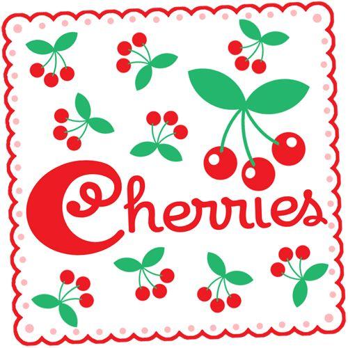 Vintage cherries red and aqua