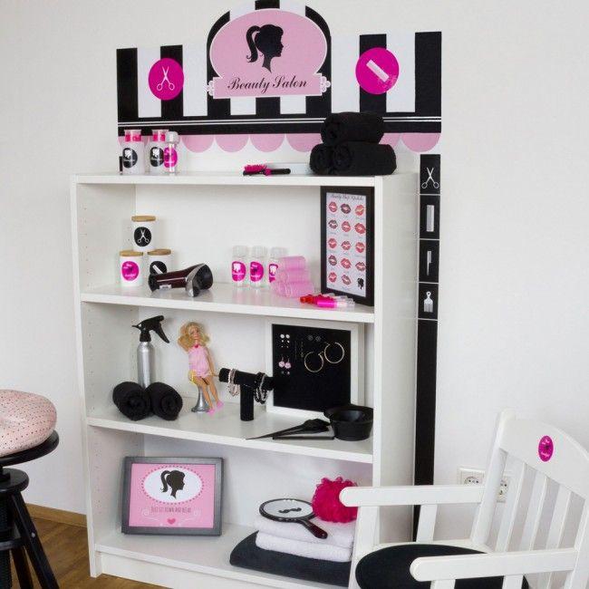 Wandfolie Beauty Salon: Kaufladen selber bauen mit IKEA BILLY 80x28x106 cm-01