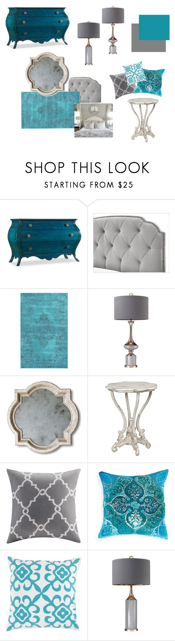 """Aqua and Gray Bedroom"" by snooziec ❤ liked on Polyvore featuring interior, interiors, interior design, home, home decor, interior decorating, Hooker Furniture, nuLOOM, Madison Park and Kevin O'Brien"