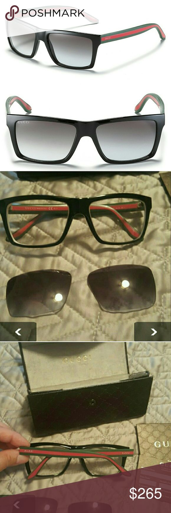 💞GUCCI SUNGLASSES 📣(READ DESCRIPTION) * I SHIP NEXT DAY * PRICE IS FIRM  * CONDITION 8/10 * AUTHENTIC  * GENTLY WORN (PLEASE BE AWARE THAT THESE ARE USED) * WILL HAVE PRESCRIPTION LENSES TAKEN OUT. * NO MODELING  COMES WITH: * CASE  * CLOTH  * AUTHENTICATION CARDS (EVERYTHING SHOWN IN PICTURE) Gucci Accessories Sunglasses
