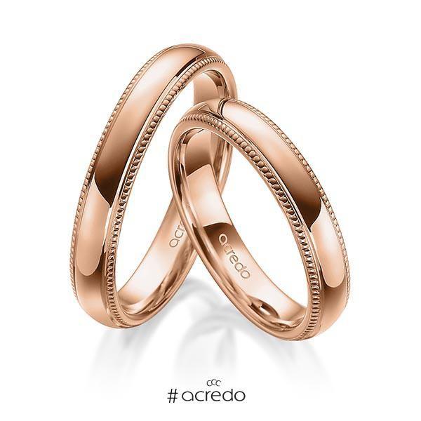 Eheringe In Ausdrucksvollem Rotgold Und Einem Muster Aus Perlfugen Bilden Eine Harmonische Einheit Als Symbol Der Liebe Wedding Rings Jewelry Engagement Rings