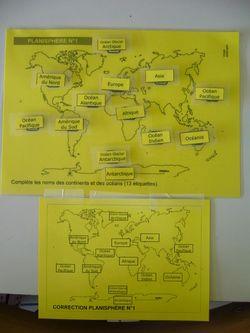 jeux placer océans continents sur différents planisphères