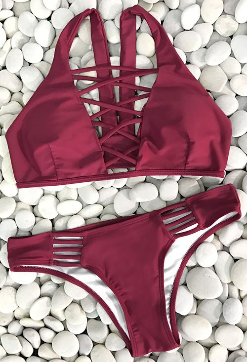 Lace up bikini set,$19.99! Free Shipping! Its the perfect go to bathing suit for style and comfort! It has high quality and super comfy fit. Show off your stunning style in this gorgeous solid color baby!