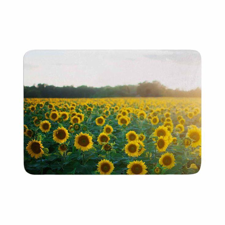 "Chelsea Victoria ""Sunflower Fields"" Floral Photography Memory Foam Bath Mat"