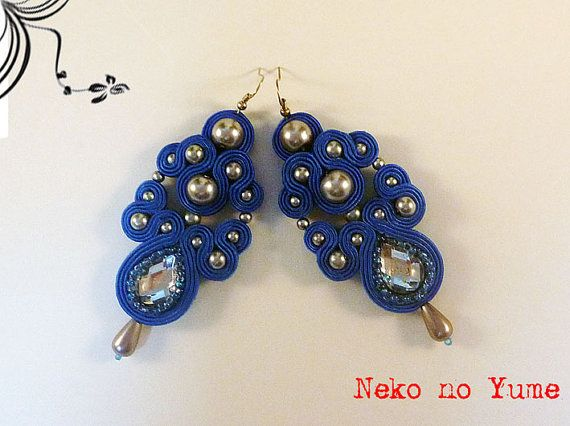 Soutache earrings  Crystal by IzabelaCichocka on Etsy