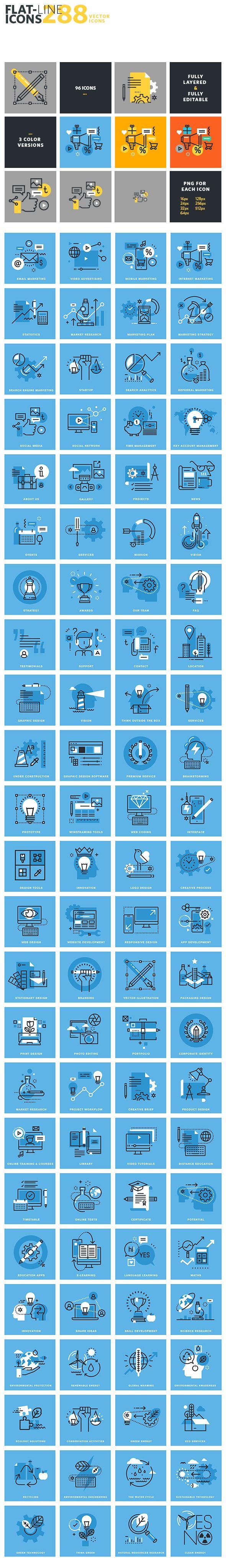 Set of Flat Line Icons on Behance