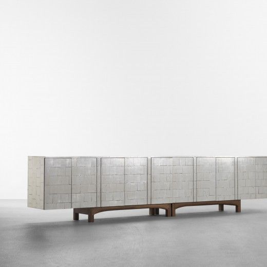 Phillip Lloyd Powell, custom sideboard, silver leaf over lacquered wood, 1971.