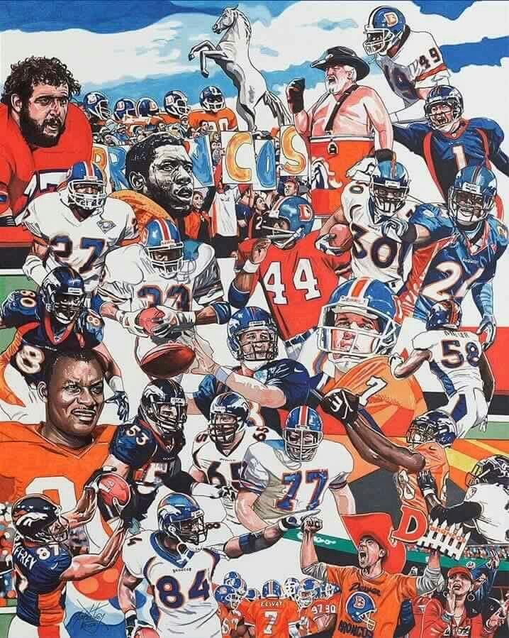 Denver Broncos Over the years. Photo Collage