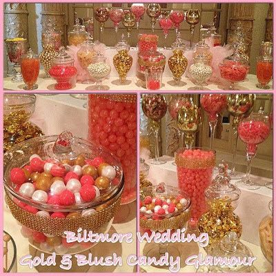 blush gold candy | Pink, Gold, Ivory & Blush Glam & Sweetly Chic Wedding Candy Station ...