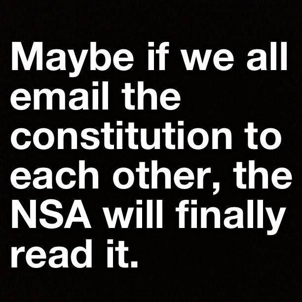 Maybe if we all email the constitution to each other, the NSA will finally read it