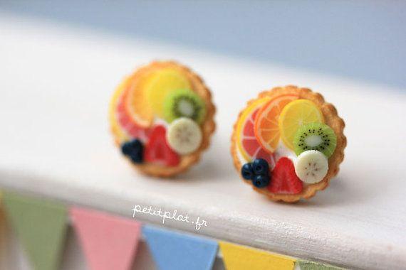 Fruit Tart Earrings  Tutti Frutti  Fruit Tart by PetitPlat on Etsy, €18.00