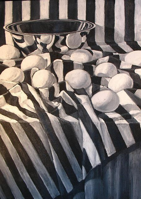 Ten Eggs on Striped Cloth by dpaynearteacher, via Flickr