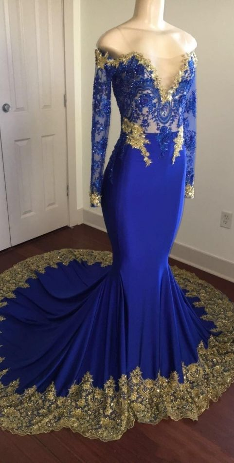 bca97db0bc1 Royal Blue Off-the-shoulder Long Mermaid Prom Dresses Long Sleeves Gold  Appliques Evening Gowns