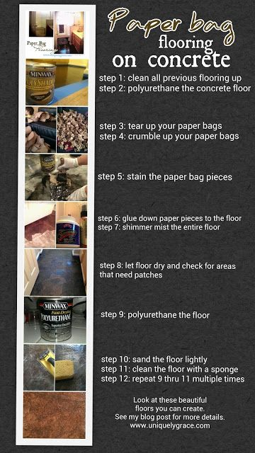 MUST PIN THIS IS AWESOME and CHEAP!!! Paper Bag flooring over Concrete sub floors Detailed Tutorial