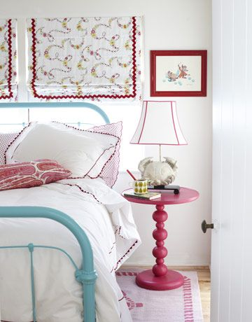 "another pinner wrote: ""A Perfect Pairing with Pink: She chose turquoise and red for her 10-year-old niece's bedroom because ""they're always great together."" A Bubble-Up side table from PB Teen is paired with the vintage painted bed."""