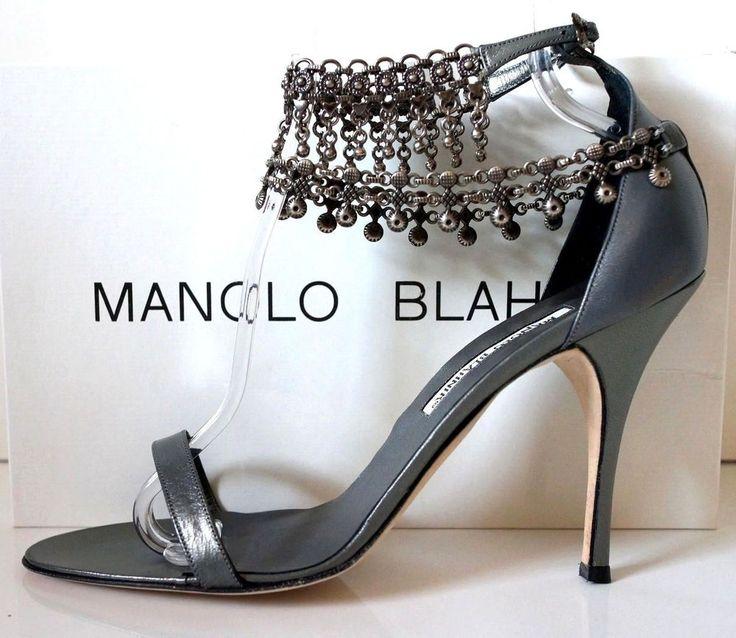 Manolo Blahnik Hourisan Pewter Sandals 39  | eBay