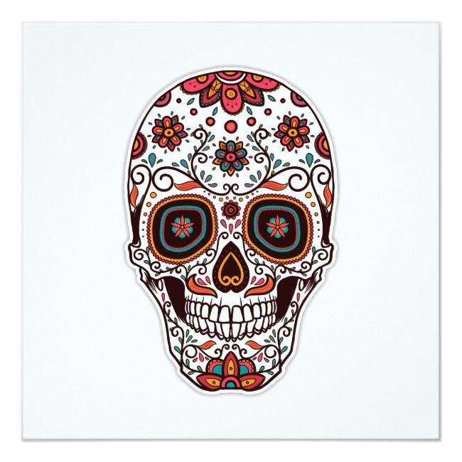 Create Your Own Invitation Zazzle Com Sugar Skull Tattoos Sugar Skull Design Sugar Skull Wallpaper