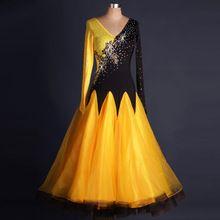 Standard Kleider Schwarz Naht gelb maßgeschneiderte Wettbewerb Kleider Gesellschaftstanz Lange Ärmel werden kann Walzer Tanzkostüme (China (Festland))