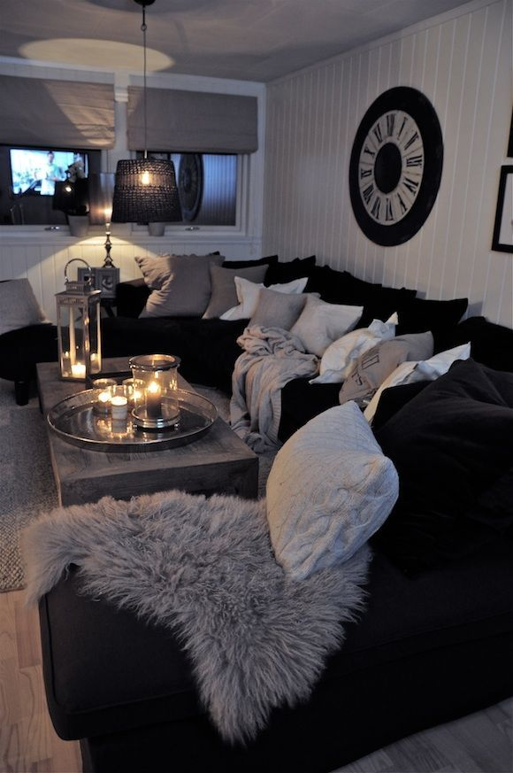 Black Couches, Fluffy Pillows, Lit Candles, So Cozy Grey White And Black  Living Room