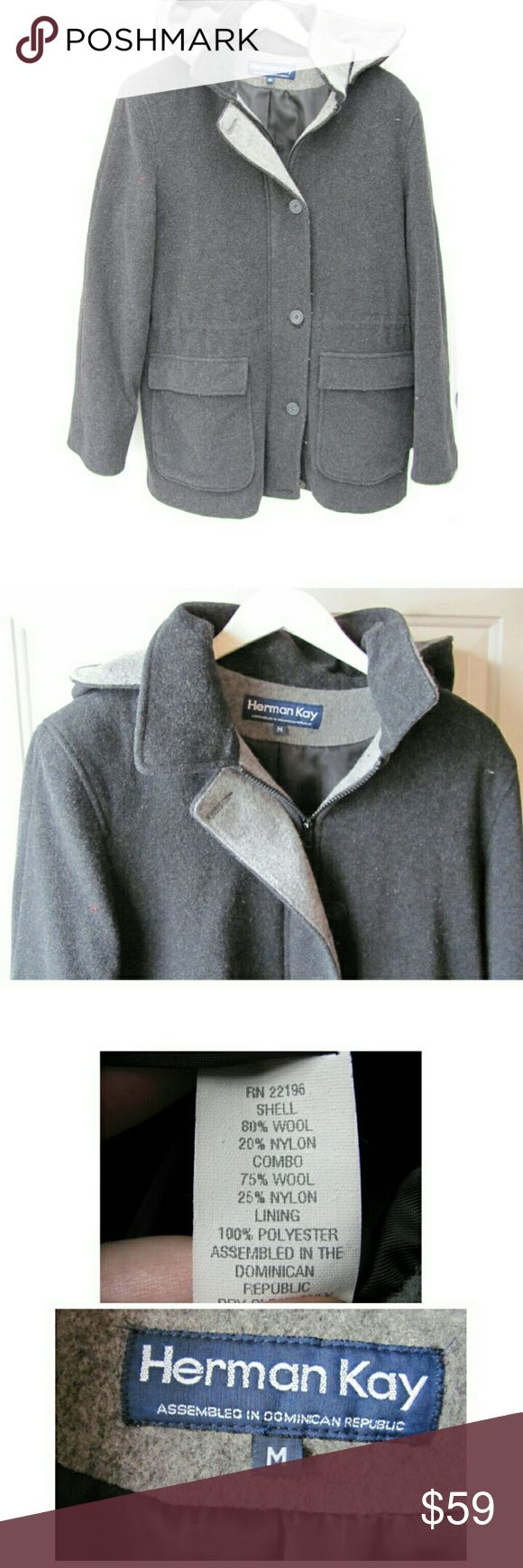 """EUC Gray Wool Pea Coat Large Herman Kay with Hood Medium, can fit a Large too--about a size 12. 19"""" from underarm, 29.5"""" from collar down middle of back. About 19"""" across shoulders. Removable (with buttons) two-tone hood.  Coat is charcoal gray. Full zip and large button closures down front. Two-tone gray around collar and hood and flap that buttons over zipper. Exterior is 80% Wool, 20% Nylon. Light shoulder padding (built in). Flap and slip pockets, 4 total, for keys, cell phone. Excellent…"""