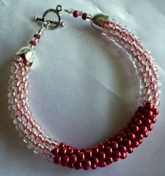 Metallic red and crystal beaded Kumihimo by TheBeckoningCat