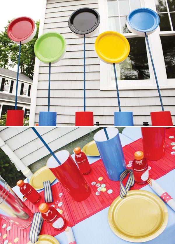 Olympic Themed Birthday Party Centerpiece Idea