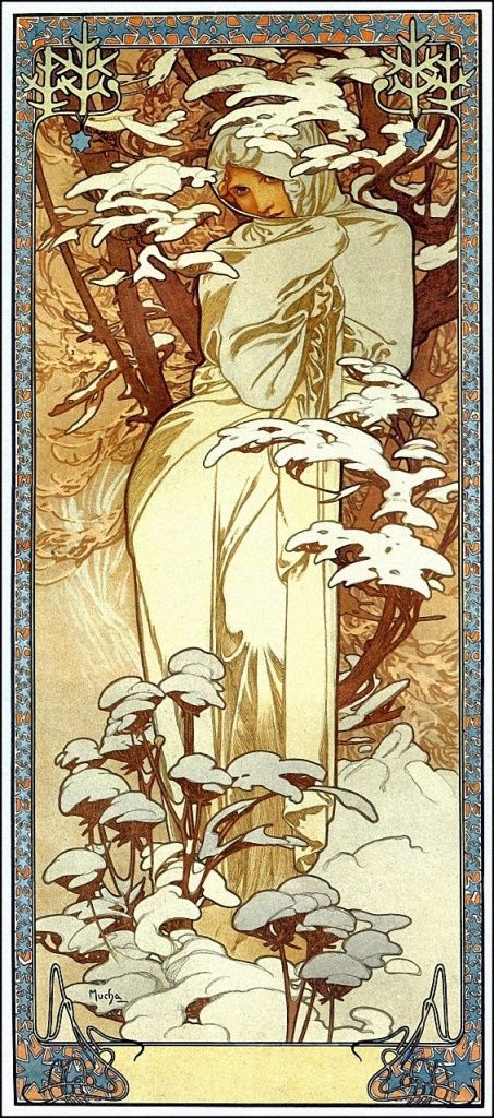 Art Nouveau -- not art deco, but I love the long, languid shape of her and the snow.