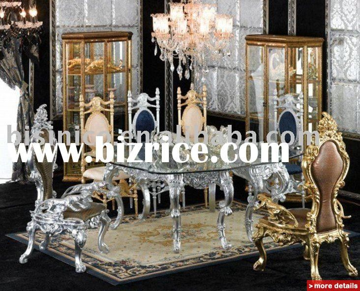 Victorian Style Dining Room Furniture |   Luxury Antique Gold Plated New  Style Wooden Dining Room