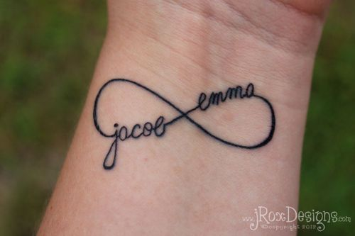 infinity tattoo kids names. thinking of getting this with talyn nicole instead of jacob emma. what do you think?