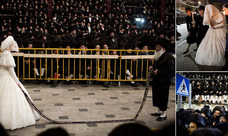 The bride with 25,000 guests: Holding a sash, newlywed, 19, waits for relative to perform a 'Mitzvah dance' as she marries into Ultra Orthodox Jewish family