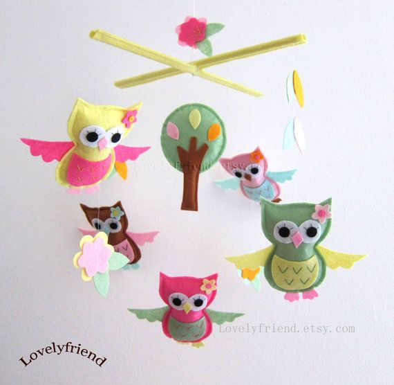 Morning Owls Mobile  Baby Mobile  Pink and Green by lovelyfriend