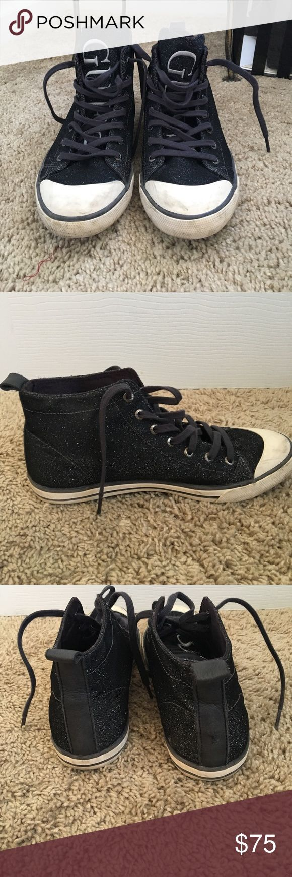 Guess Sneakers I accept offers!!! Glittery GUESS sneakers!!! Slightly used with some marks on white toe caps but nothing major. Hardly worn. Has a cute strip of black leather on back of shoes Guess Shoes Sneakers