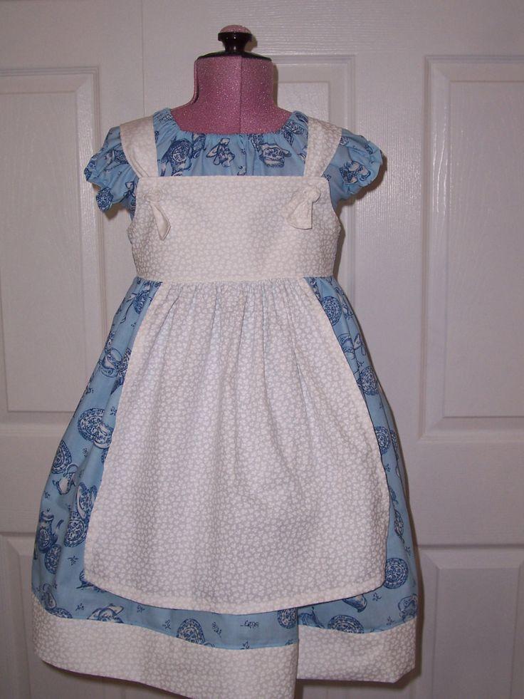 modern day alice in wonderland girls two piece blue and white dress set tea party birthday dress set