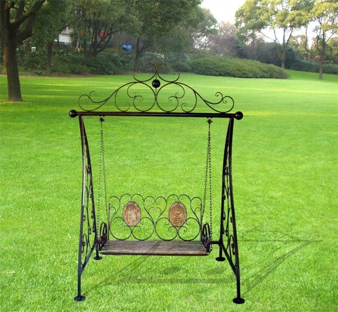 Black Iron Double Rocking Chair Iron Outdoor Swing Chair
