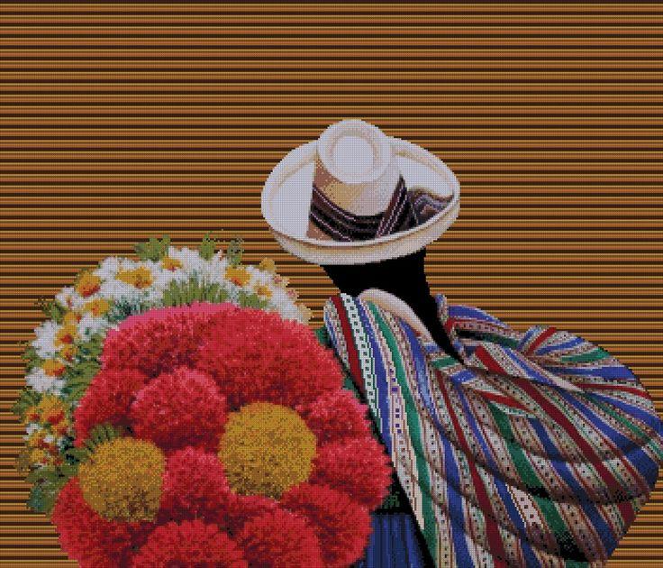 """PATRON PUNTO CRUZ   (Foto del Bordado Virtual)   """"Con Flores""""   Para bordar con Hilos DMC   350 Puntos de Ancho   300 Puntos de Alto."""