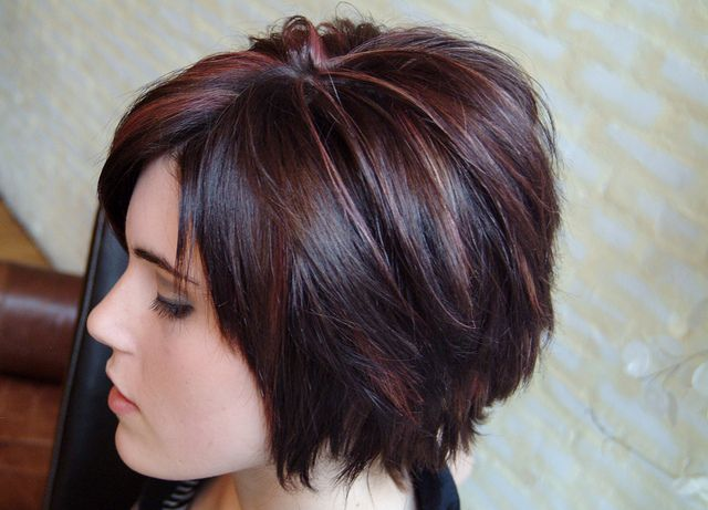 Choppy Bob | Cranberry and blonde over dark brown- love the color!