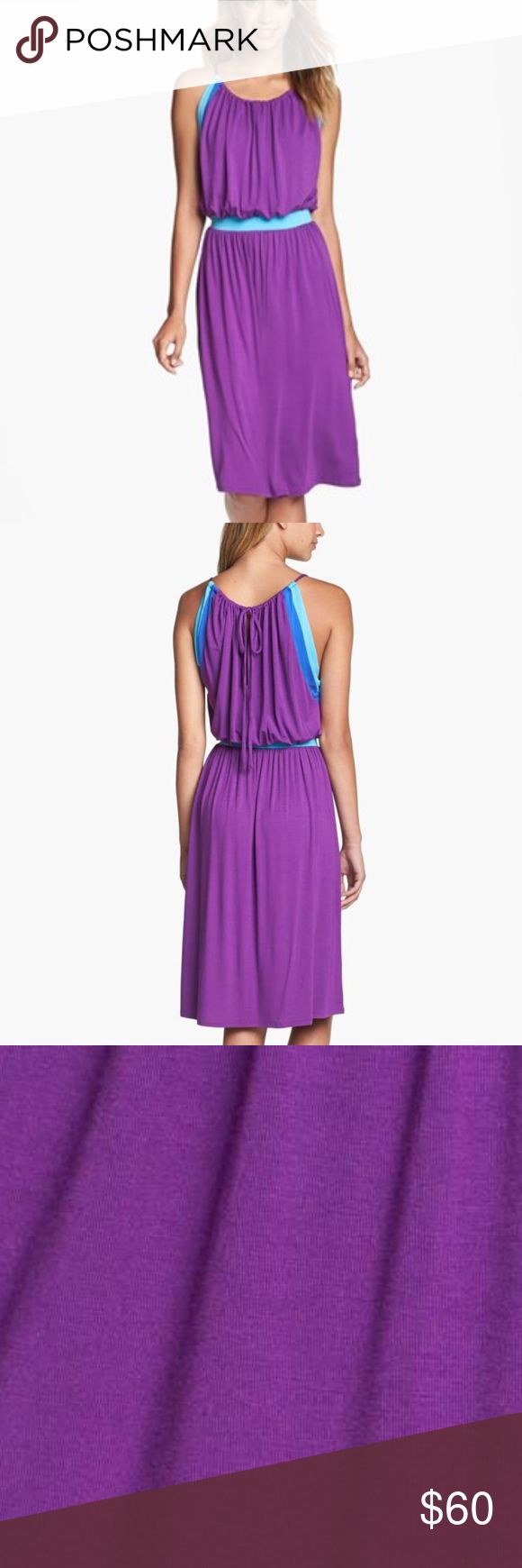 """NWT Felicity. & Coco Blouson Jersey Dress XSP NWT Felicity. & Coco Blouson Jersey Dress XSP Ocean-tone stripes frame the halter bodice of a breezy jersey dress shaped with a contrast elastic band at the waist and a hem that drapes a little lower in the back. 35"""" petite center front length Slips on over head. Ties at back neck. Unlined. Viscose rayon/spandex; hand wash. Nordstrom Dresses Midi"""