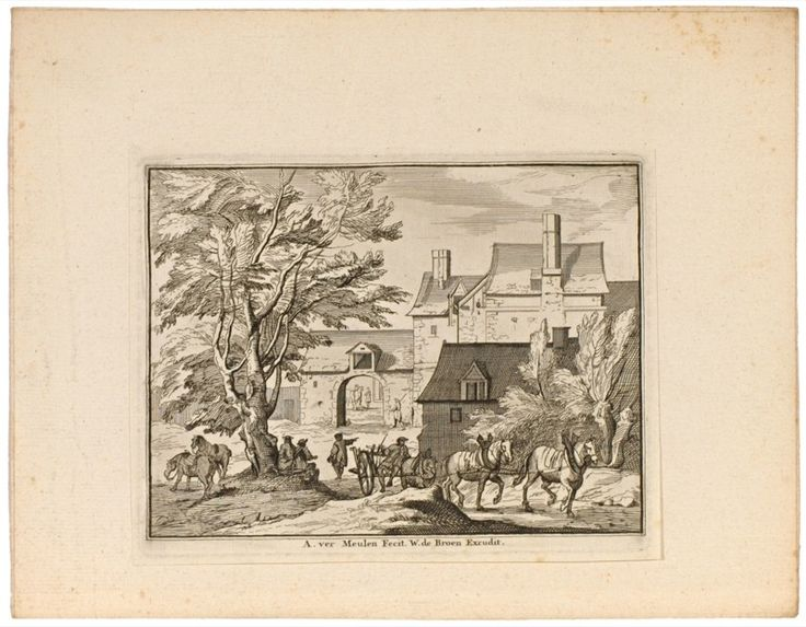 Collection of 6 engravings with pastoral landscapes depicting travellers on the road, and buildings.