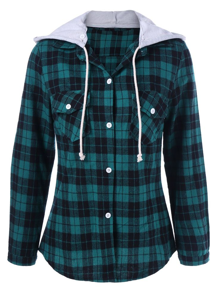 Hooded Plaid Shirt Hoodie in Green | Sammydress.com
